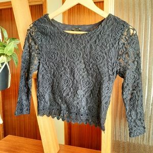 💛2/20💛 Forever 21 Navy Lace Long Sleeve Crop